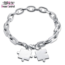 DreamCarnival1989 Can Engrave Twice Puzzle Charm Link Chains Stainless Steel Bracelet for women Pulseira Feminina Gift Wholesale(China)
