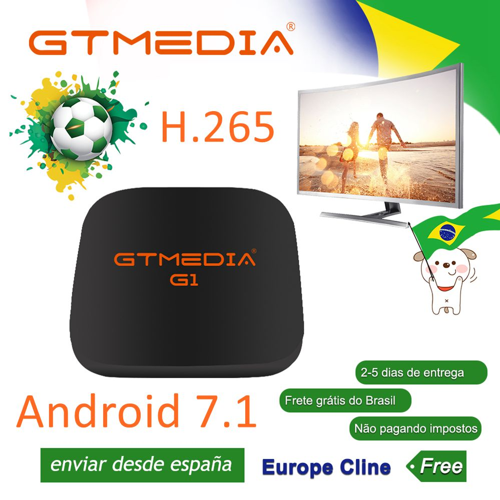 Global Version Original GTmedia G1 Box 4K Android 7.1 S905W  Smart TV Box 1GB 8GB HDMI 2.4G WiFi Mali450 IPTV M3U Set Top TV Box