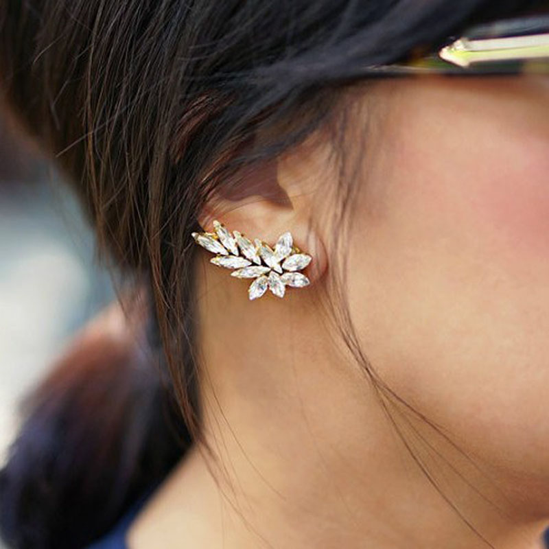 Punk Gold Crystal Rhinestone Crescent Right Ear Cuff Clip Earring Stud Wrap