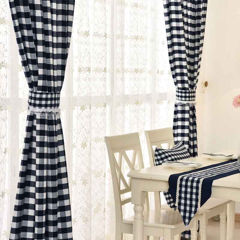 Modern Linen Curtains Green White Plaid For Living Room Black Lace Bedroom Joint Window Drapes In From Home