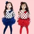 2016 little girls pants leggings+t shirt Kids girls Bowknot long sleeves tops+Tulle Pantskirt Tutu Dress Polka Dots 2-8Y