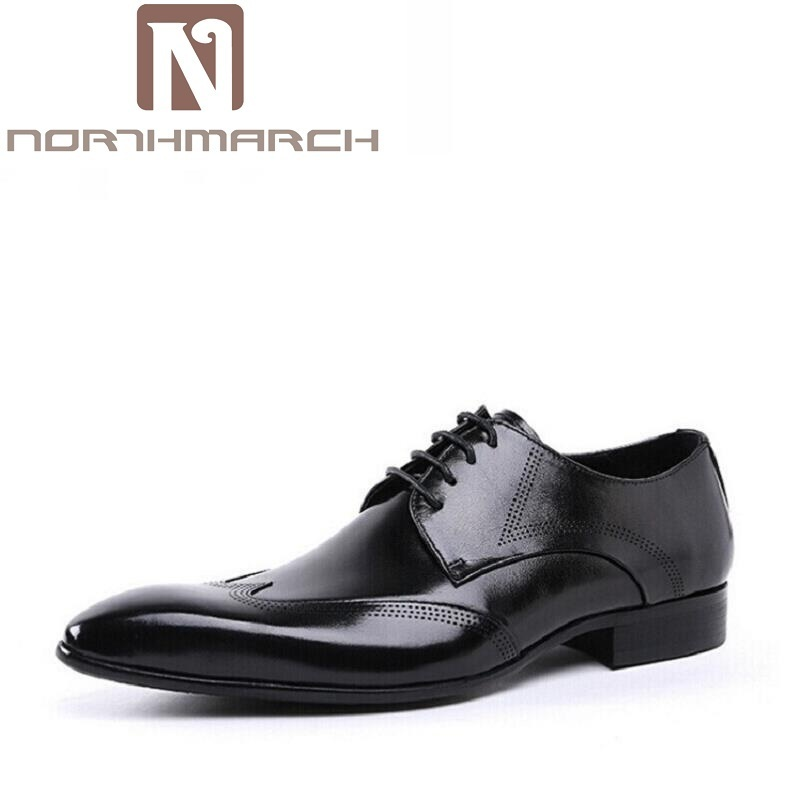 NORTHMARCH Shoes Men Red Black Italian Style Top Leather Mens Oxford Shoes Lace Up Luxury Formal Business Wedding Shoes For Man top quality crocodile grain black oxfords mens dress shoes genuine leather business shoes mens formal wedding shoes