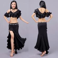 Seksowny wschodni kostium do orientalnego tańca brzucha zwinięte krótkie bluzki spódnica dla kobiet taniec brzucha ubrania odzież tancerz Bellydance