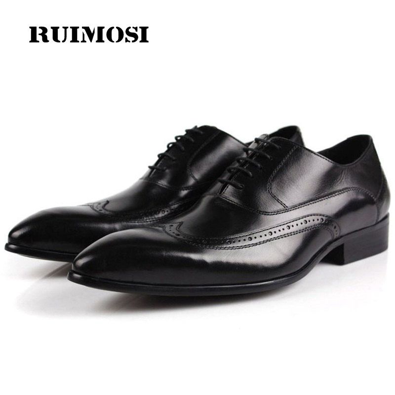 RUIMOSI Luxury Brand Man Wing Tip Brogue Shoes Genuine Leather Bridal Oxfords Pointed Toe Men's Dress Flats For Wedding QC39