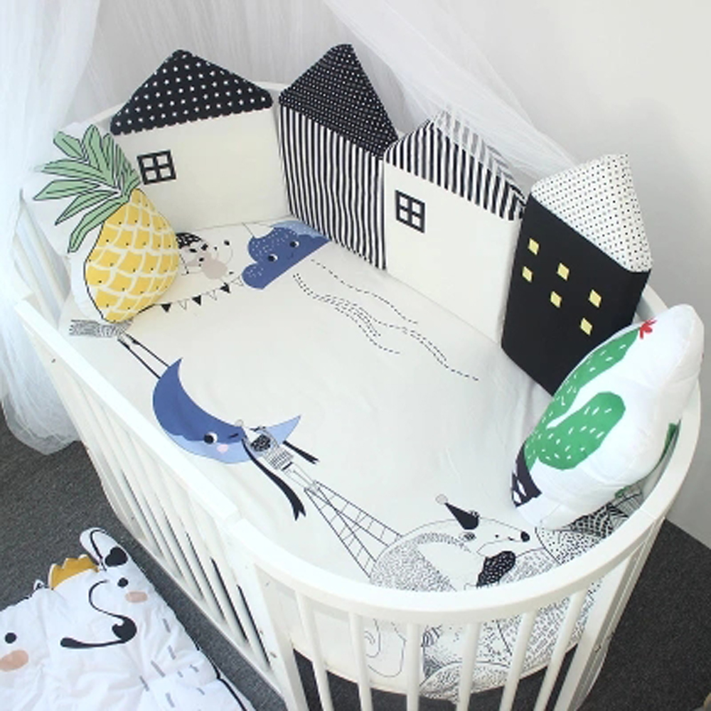 4 Pcs/lot Baby Bed Crib Sides Baby Bed Bumper Nordic Infant Bedding Set Newborn Crib Bumper Little House Pattern Room Decoration