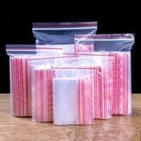 Sacos de plástico transparentes para joias  100  unidades/pacote de alta qualidade  saco ziplock para presente  saco de plástico recarregável  zíper  espessura 0.05mm