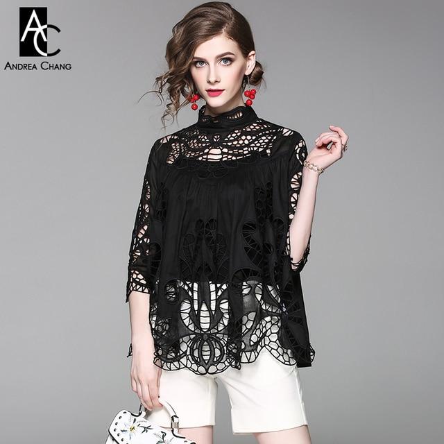 Printemps automne femme shirt blouse vintage motif évider brodé dentelle  noir blanc chemise col montant lâche a240e0071db