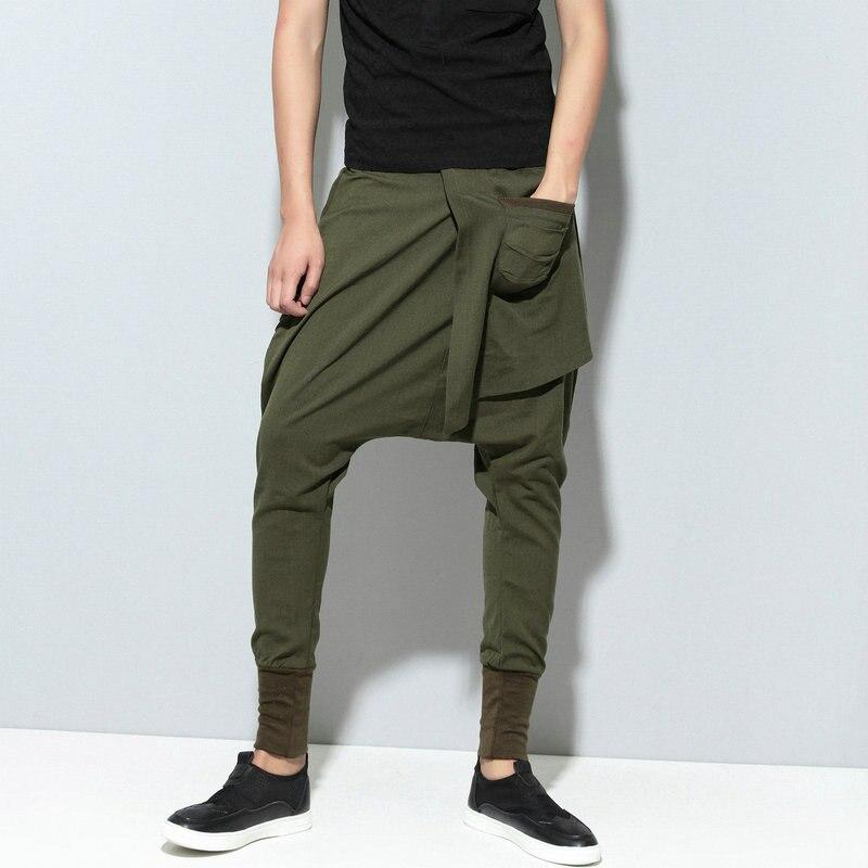 Штаны-шаровары в стиле хип-хоп мужские однотонные уличные Мужские штаны для бега повседневные тонкие брюки с перекрестными ремешками удобные спортивные штаны черные Модные Зеленые - Цвет: Армейский зеленый