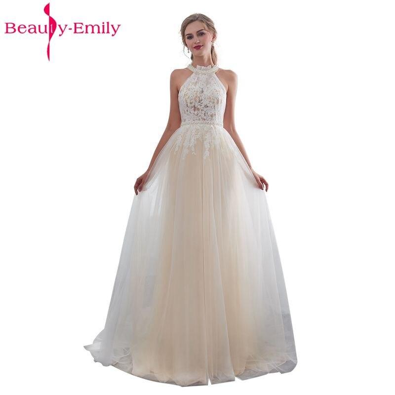 a401938f80d Beauty Emily White Lace Formal Evening Dresses 2018 long Plus Size A-Line  Evening Party Dresses Floor-Length Prom Dress Elegant