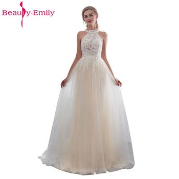 Beauty Emily White Lace Formal Evening Dresses 2019 long Plus Size  A-Line Evening Party Dresses Floor-Length Prom Dress Elegant