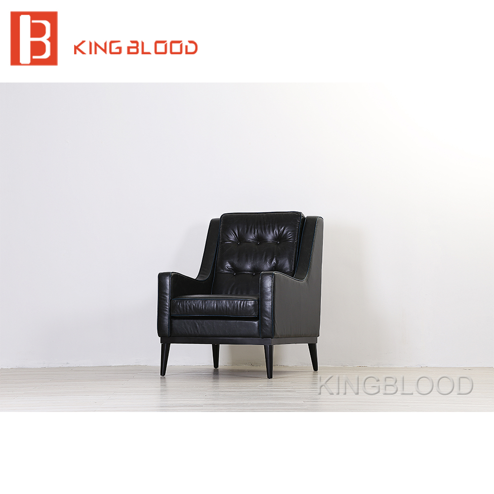 American style classic black genuine leather single sofa chair 247 classic leather