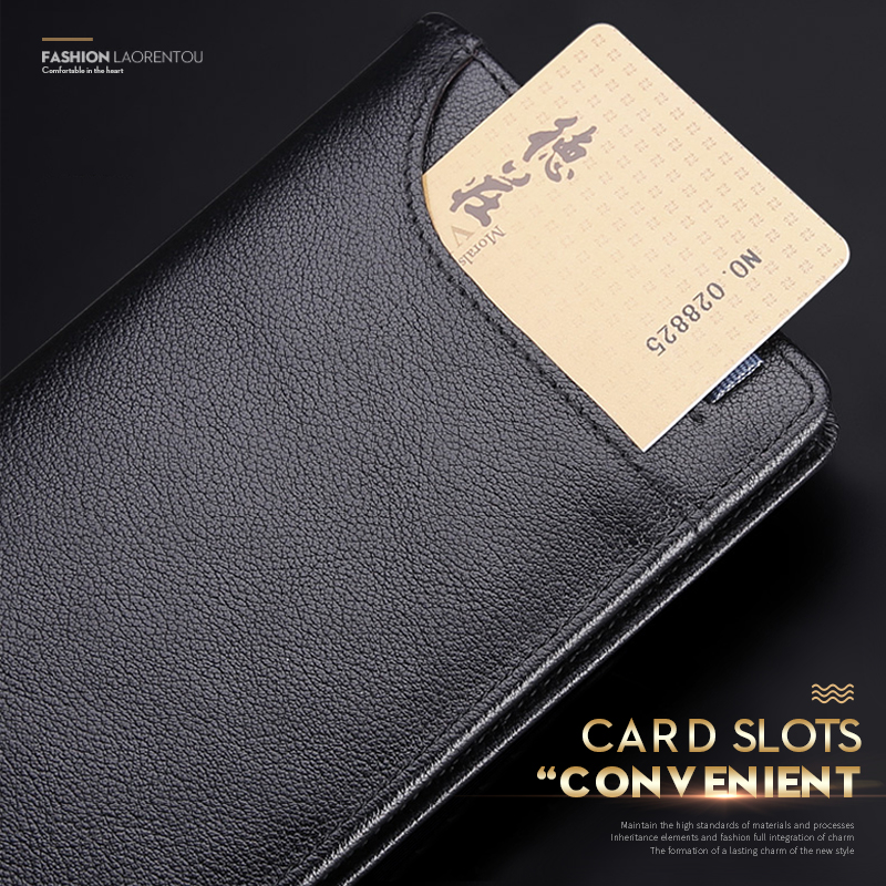 LAORENTOU Men Wallets Cow Leather Purse Long Wallet Business Man Clutch Bag Large Capacity Bank Credit Card ID Card Holder large capacity genuine leather man wallet card holder credit card coin purse men wallets male clutch wallet men long wallets