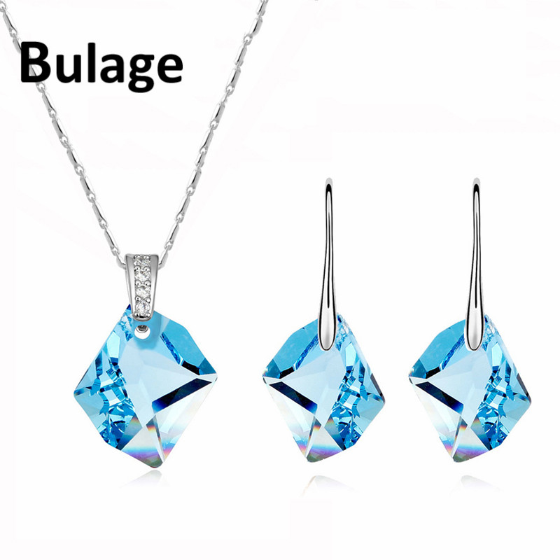High Quality Wedding Jewelry Sets Crystal from Swarovski Geometric Pendant Necklace Drop Earrings For Women Christmas Gifts in Jewelry Sets from Jewelry Accessories