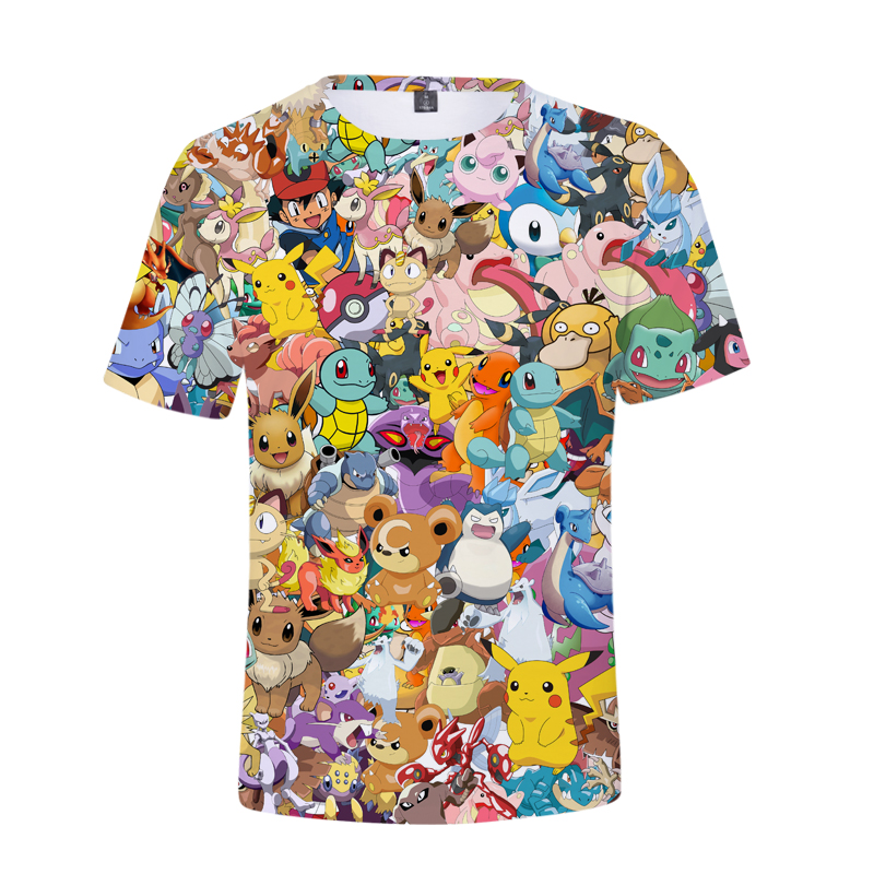 Pokemon Collages T Shirt Pikachu/Eevee/Squirtle 3D T-Shirt for Women Men Fashion Casual Tops Summer Short Sleeve Tee Shirt image