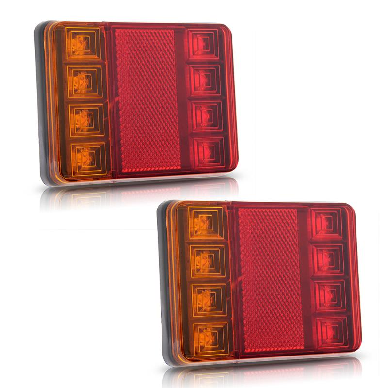 2PCS Waterproof 8 LED Taillights Red Yellow Rear Tail font b Light b font DC 12V