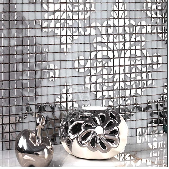 Kitchen Wall Tile Crystal Glass Mosaic Tiles Puzzle Mirror Surface Tile  Stickers Silver Gold Mosaic Arts