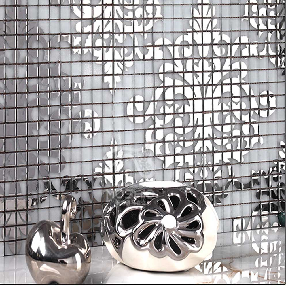 Wall tile buy cheap stone wall tile lots from china stone wall tile - Kitchen Wall Tile Crystal Glass Mosaic Tiles Puzzle Mirror Surface Tile Stickers Silver Gold Mosaic Arts
