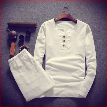 Big size men t shirt set M-8XL 9XL t shirt Linen long sleeve large t shirts casual v-neck loose  two-piece suit t shirts sets