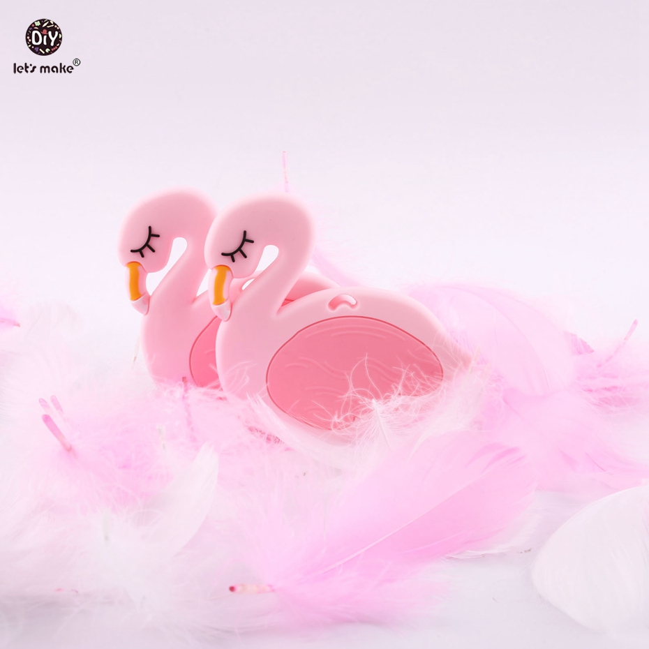 Lets make BPA Free Food Grade Silicone Flamingos DIY Teething Necklace Nursing Pendant 1pc Baby Shower Gift Baby Teether