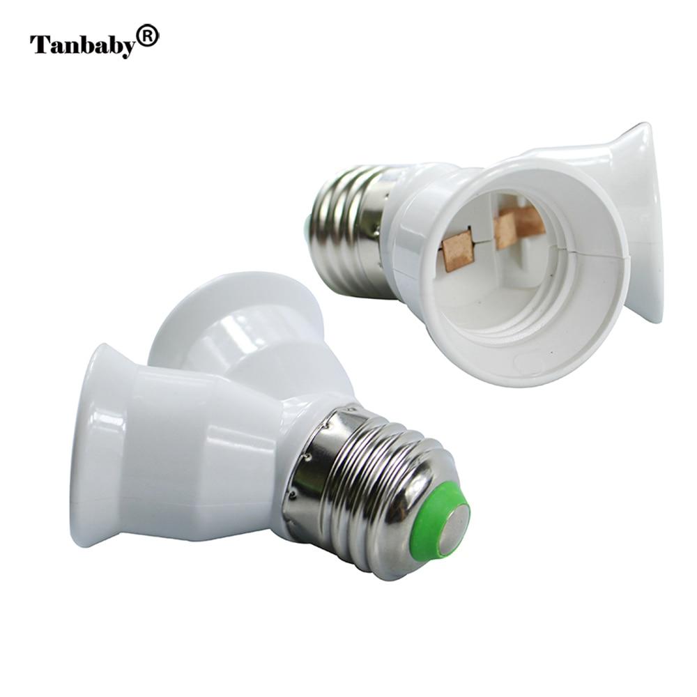 Tanbaby Fireproof  E27 to 2 E27 Lamp holder Converter Socket for Led Light Lamp E27 Screw Splitter Adapter WhiteTanbaby Fireproof  E27 to 2 E27 Lamp holder Converter Socket for Led Light Lamp E27 Screw Splitter Adapter White