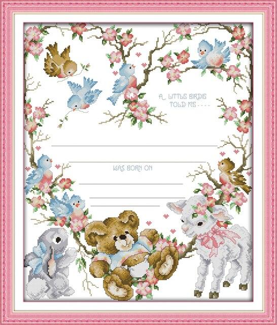 Birth certificate (3) cross stitch kit 14ct 11ct count print canvas ...