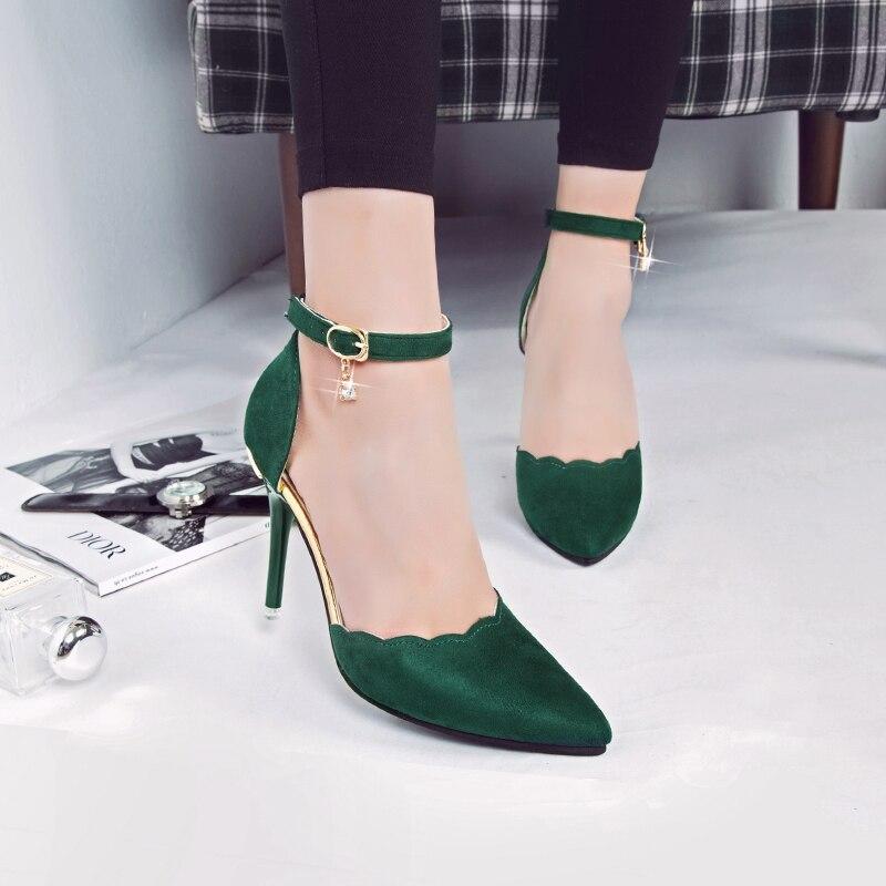 Negro Rhinestone Nuevas La verde Manera Mujeres G002 Zapatos Decoración Del gris Acentuado Metal rojo Muchachas 2017 Pie Sexy Tacón Princesa Alto Las Bombas Dedo De A4w4P1