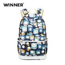 Победитель Мода 2017 школьная сумка небольшой свежий Печать Женщины Рюкзак Холст Bagpack SAC DOS Femme рюкзак женский