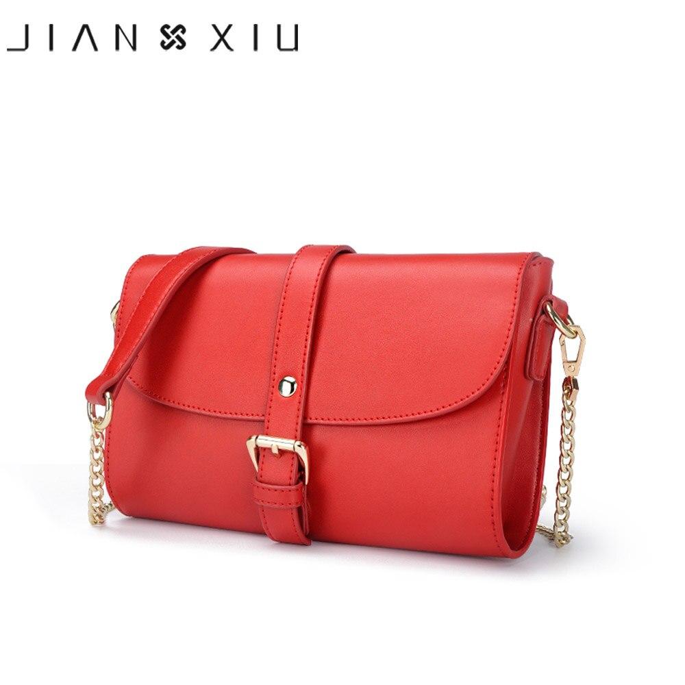 JIANXIU Brand Women Messenger Bags Split Leather Shoulder Crossbody Bag Small Chain Belt Decoration Ladies Luxury Bags 3 Colors