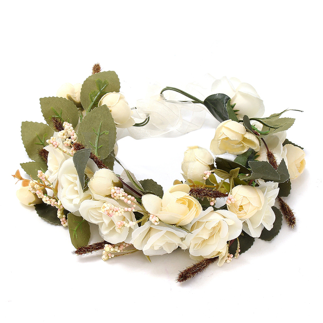 Boutique floral garlands headband women wedding flower wreath boutique floral garlands headband women wedding flower wreath bohemia crown hair band rice white mightylinksfo