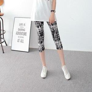 Image 4 - INITIALDREAM Leggings dété pour femmes, pantalons élastiques à taille haute, imprimés, imprimés, élastiques