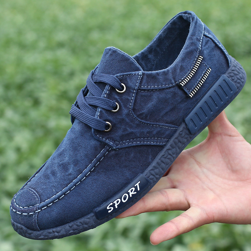 ФОТО Fashion Style Autumn and Spring 2017 Lace Up Ankle Shoes Men Blue Canvas Platform Mens Shoes Oxfords Mens Shoes Casual Patchwork