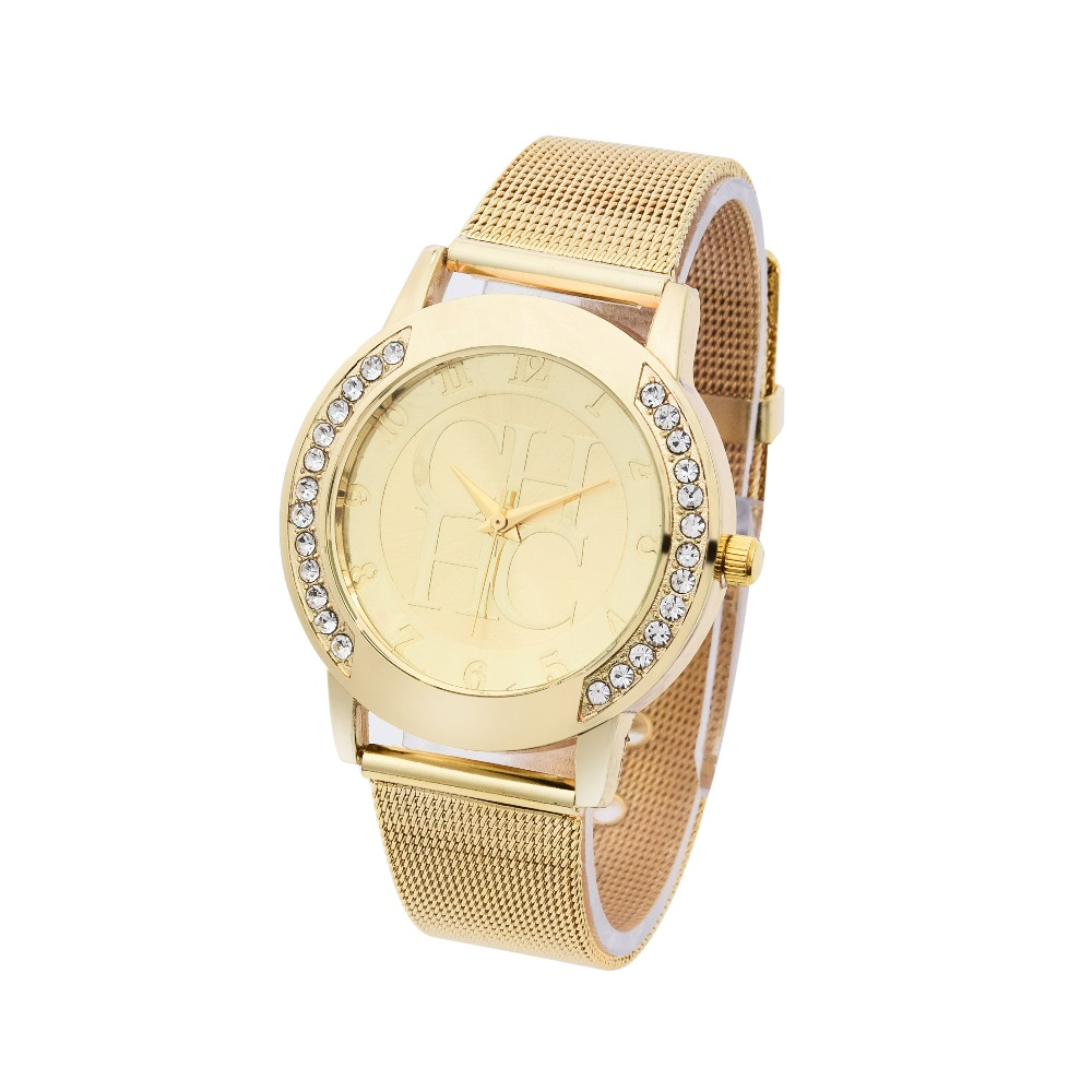 2016 New Brand Gold Genève Crystal Casual Quartz Watch Kvinder Metal - Dameure - Foto 2