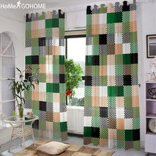 Green Sheer Tulle Curtains For Living Room Lattice Geometric Decoration Bedroom Kitchen Window Cheap