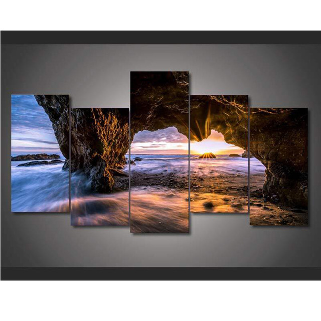 5 Pieces El Matador State Beach Sunset Nature Scenery Modern Home Wall Decor Canvas Picture Art HD Print Painting Canvas Art ...