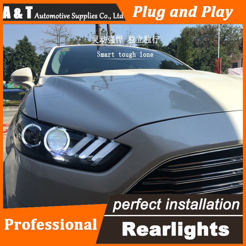 Auto.Pro Car Styling for 2013-2015 Ford Mondeo Headlights Mustan LED Headlight DRL Lens Double Beam HID Xenon bi xenon lens hireno headlamp for 2013 2015 nissan tiida headlight assembly led drl angel lens double beam hid xenon 2pcs