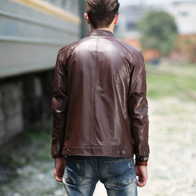 THOOO Wholesale New HOT GENTLEMEN'S Black pu leather classic fashion Slim Coat Motorcycle jacket szie M L XL 2XL 3XL 4XL 5XL