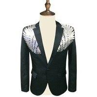 Men New Sequin Blazer Wing Sequin Blazer Masculino Slim Fit Suit Jacket Men Blazer Sequin Homme Gold Silver Stage DJ Stagewear