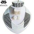Blanco de la manera de Nigeria beads africanos Boda joyería conjunto de Cristal collar de la pulsera de La Joyería Nupcial fija El Envío libre G-144