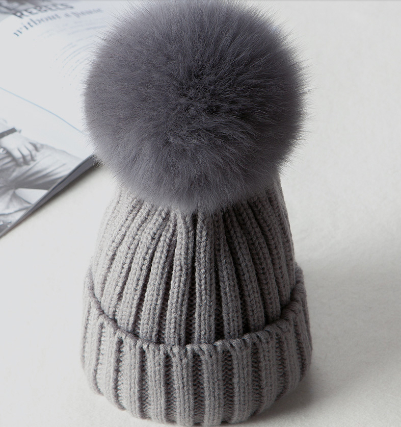 2019 Faux Fur Kids Winter Caps 2018 Cotton Knitted Baby Boys Girls ... b30a79a7ae1