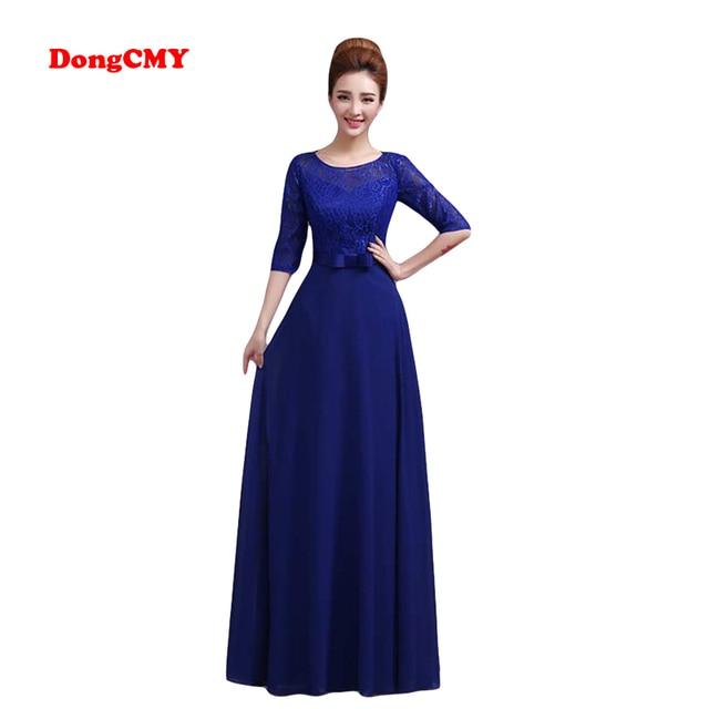 b346d0998ecd DongCMY WT0328 Nuovo 2019 disegno lungo formale elegante longo abiti Blu di  colore del manicotto mezzo