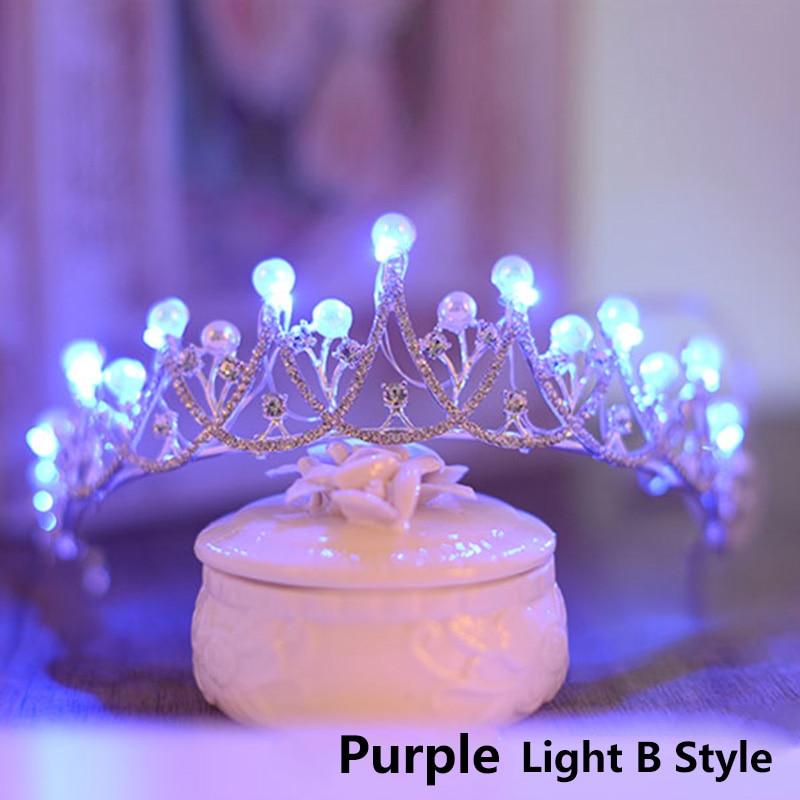 Romantic Blue Light Tiaras Crown Clear Crystal Tiara Party Hair Ornaments for Women Bridal Headpiece Rhinestone Accessories
