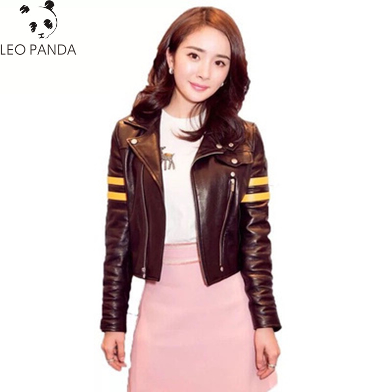 2019 Winter Faux Pu   Leather   Inside Fur Sheepskin Parka Women Motorcycle Short Jacket Female Coat Black Bomber Biker Jackets