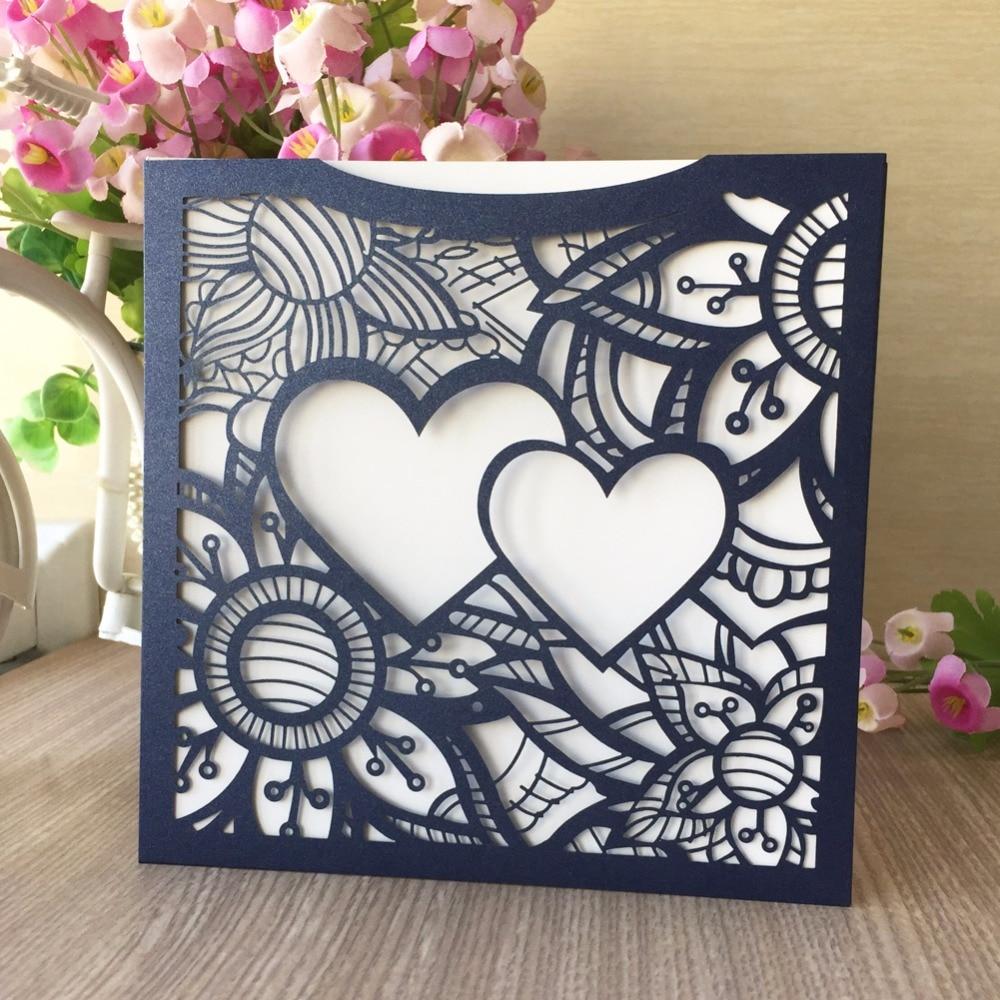 20pcslot hot heart pattern wedding invitation card