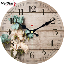 MEISTAR 3 Patterns Vintage Wooden Clock Flower Design Silent Living Kitchen Home Decor Watches Large Art Wall Clocks 4 Size 2018