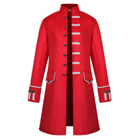 Vintage Mens Frock Coat Stand Collar Gothic Trench Coat Trim Steampunk Men Cardigans Long Sleeve Overcoat Gothic Brocade Jacket