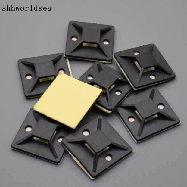 shhworldsea 500pcs 25 x 25 mm black Square Self-Adhesive car Cable Tie wire Mount Base