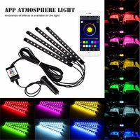 7Color 12 LED IOS Android App Bluetooth Control Car Interior Floor Decorative Atmosphere Lights Strip Glow