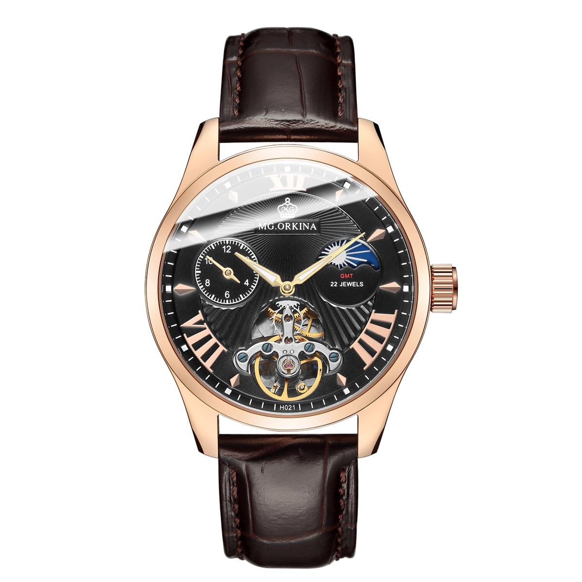 купить ORKINA New Men Full-Automatic Mechanical Watch Tourbillon Luxury Fashion Brand Genuine Leather Man Multifunctional Watches по цене 3399.2 рублей