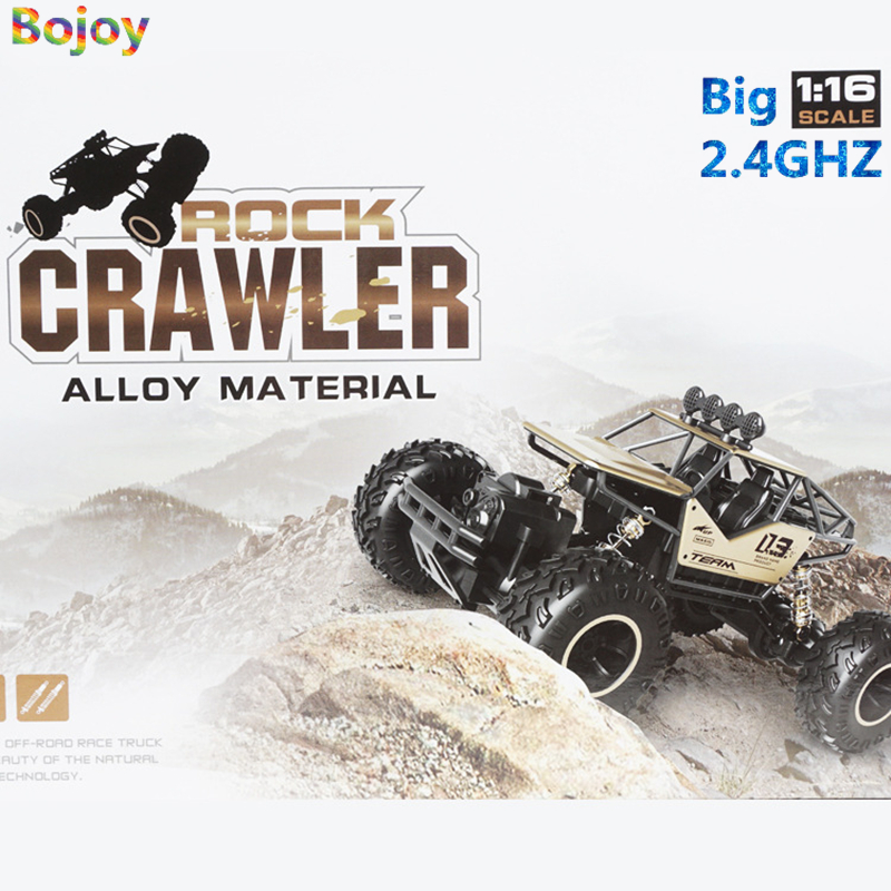Bojoy RC Car 1:16 4DW 2.4GHz Metal Rock Crawlers Rally Climbing Double Motors Bigfoot Car Remote Control Model Toys for Boy kids