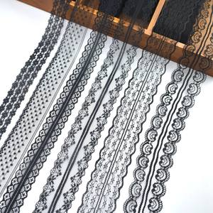 cheap!10yards/Lot black lace ribbon african lace fabric polyester/cotton lace trim DIYembroidery sewing/Home/Dress accessories